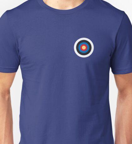 BULLS EYE, SMALL, Target, Archery, Right on target, Navy, Blue Unisex T-Shirt