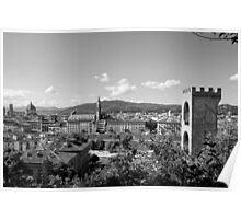 black and white Florence landscape Poster