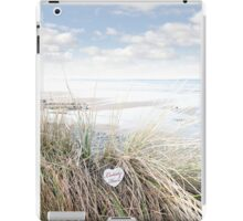 lonely blue wooden heart on beach dunes iPad Case/Skin