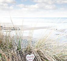 lonely blue wooden heart on beach dunes by morrbyte