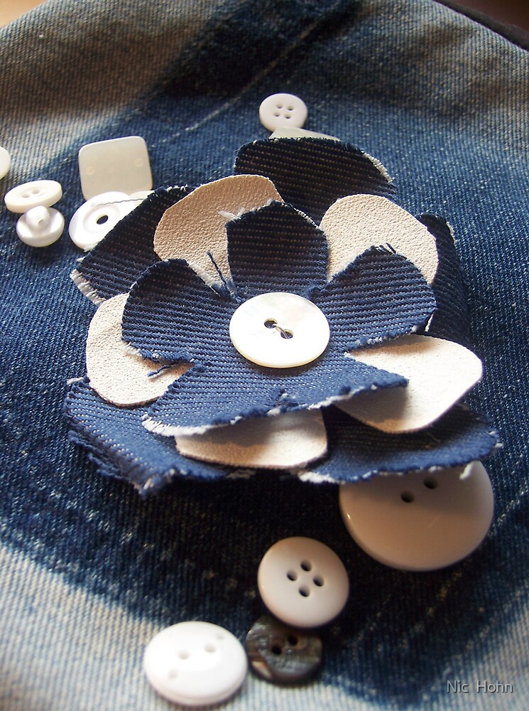 Denim Flower and Buttons by Nic  Hohn