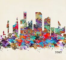 sydney skyline watercolor by bri-b
