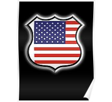 American Shield, America, Stars & Stripes, USA, Americana, Pure & Simple, on BLACK Poster