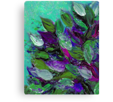 BLOOMING BEAUTIFUL Mint Green Purple Elegant Floral Abstract Leaves Garden Whimsical Textural Colorful Acrylic Flowers Painting Canvas Print