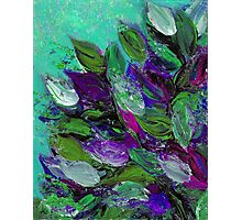 BLOOMING BEAUTIFUL Mint Green Purple Elegant Floral Abstract Leaves Garden Whimsical Textural Colorful Acrylic Flowers Painting Photographic Print