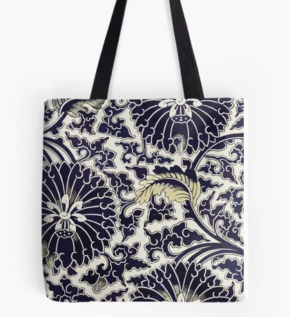 Indigo Blue Traditional Asian Floral Pattern Shirts And Gifts Tote Bag