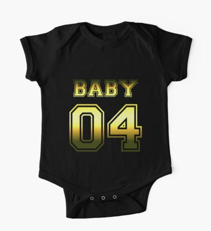 Numbered FAMILY : BABY 04 GOLD One Piece - Short Sleeve