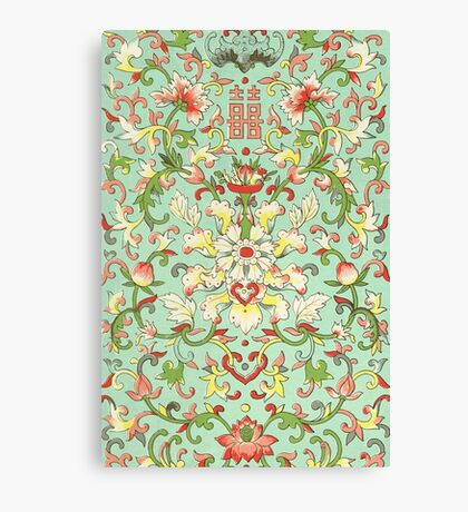 Colorful Flowers - Vintage Floral Pattern Traditional Asian Drawing Flowers Design Canvas Print