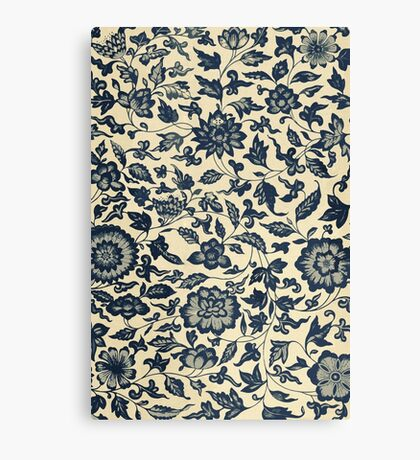 Vintage Floral Pattern - Traditional Ethnic Asian Flowers And Leaves  Canvas Print