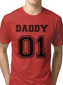 Numbered FAMILY : DADDY 01 BLACK Tri-blend T-Shirt