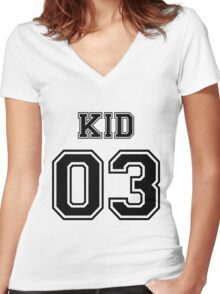 Numbered FAMILY : KID 03 BLACK Women's Fitted V-Neck T-Shirt