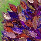 BLOOMING BEAUTIFUL 2 Bold Colorful Orange Purple Green Textural Abstract Acrylic Painting Floral Impasto Garden Flowers by EbiEmporium