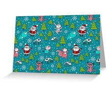 Christmas Forest Animals and Santa Pattern. Merry Christmas! Greeting Card