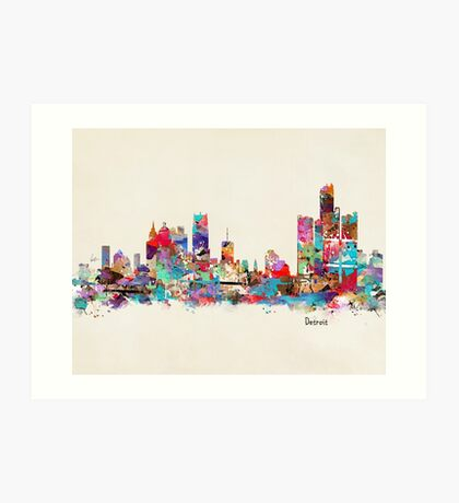 detroit skyline watercolor Art Print