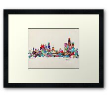 detroit skyline watercolor Framed Print