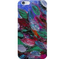 BLOOMING BEAUTIFUL 3 Rich Deep Blue Magenta Fuchsia Pink Red Green Floral Abstract Textural Impasto Flowers Acrylic Painting Nature Garden iPhone Case/Skin