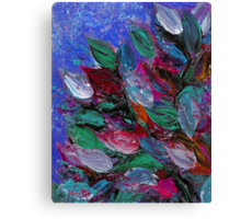 BLOOMING BEAUTIFUL 3 Rich Deep Blue Magenta Fuchsia Pink Red Green Floral Abstract Textural Impasto Flowers Acrylic Painting Nature Garden Canvas Print