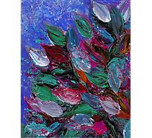 BLOOMING BEAUTIFUL 3 Rich Deep Blue Magenta Fuchsia Pink Red Green Floral Abstract Textural Impasto Flowers Acrylic Painting Nature Garden Photographic Print