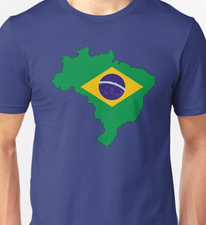 Brazil Country Outline and Flag Unisex T-Shirt