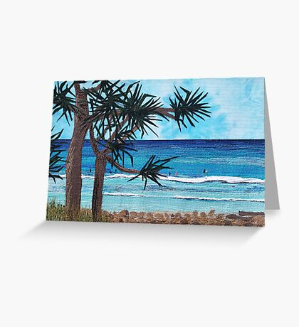 """""""Something About The Pandanus"""" beach scene seascape textile art Greeting Card"""