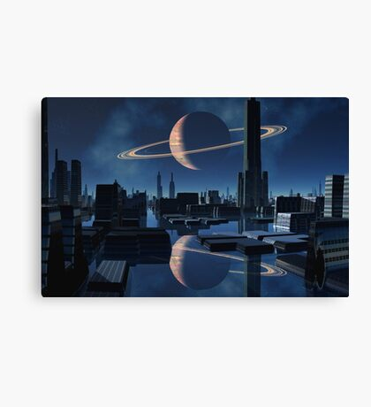 City of Shadow and Reflection Canvas Print