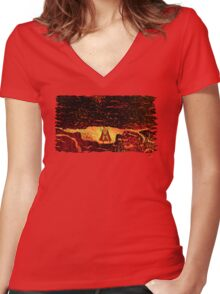 Superman Vs. San Andreas Women's Fitted V-Neck T-Shirt