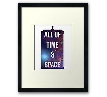 """Doctor Who TARDIS - """"All of time and space"""" Framed Print"""