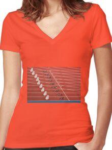 Starting Blocks Women's Fitted V-Neck T-Shirt