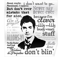 Tenth Doctor - on white Poster