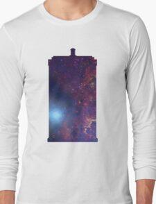 Doctor Who TARDIS - Galaxy Background Long Sleeve T-Shirt