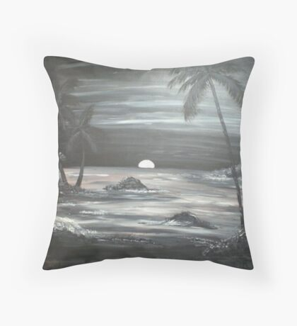 Painted Night Scene Throw Pillow