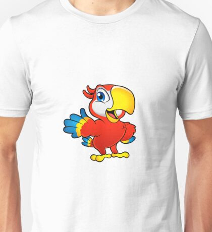 Cute cartoon colorful macaw Unisex T-Shirt