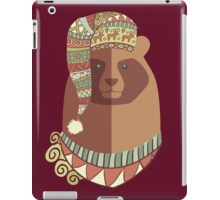 Bear ugly winter Aztec hat Christmas holiday iPad Case/Skin