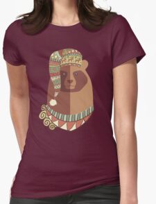 Bear ugly winter Aztec hat Christmas holiday Womens Fitted T-Shirt
