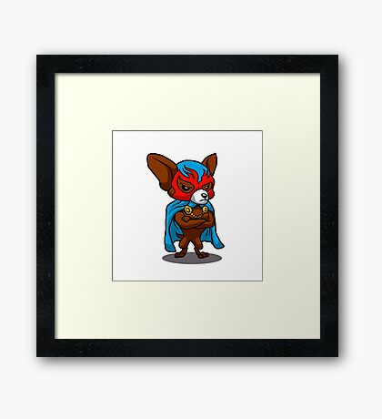 Cute dog chihuahua Fighter Lucha Libre Framed Print