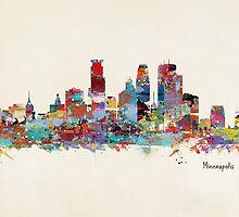 Minneapolis skyline watercolor by bri-b