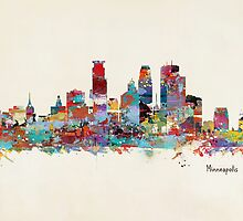 Minneapolis skyline watercolor by bri-b