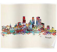 Minneapolis skyline watercolor Poster