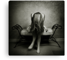 A wall, a chair and a girl... Canvas Print
