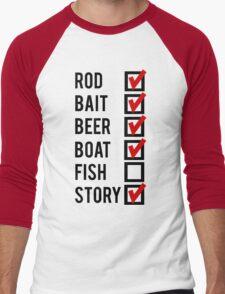 Fishing Check Off List Mens Men's Baseball ¾ T-Shirt