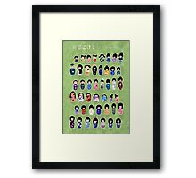 Creative Kokeshi, Kanji version Framed Print