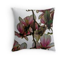 Gold gilded magnolias Throw Pillow