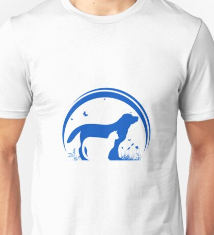 Dog and Cat and nature Silhouette Unisex T-Shirt