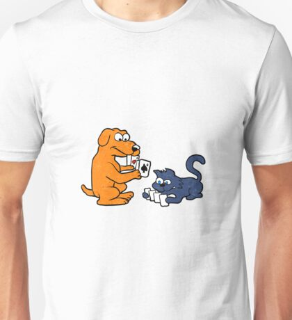dog and cat playing cards Unisex T-Shirt