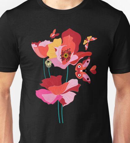 Seamless pattern of beautiful red poppies Unisex T-Shirt