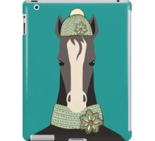 Funny serious horse winter knit hat scarf iPad Case/Skin