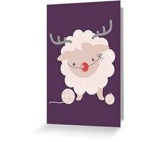 sheep knitting crochet yarn balls reindeer costume Greeting Card