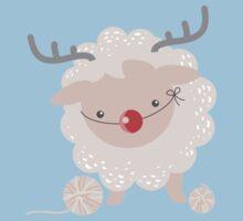 sheep knitting crochet yarn balls reindeer costume One Piece - Short Sleeve