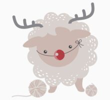 sheep knitting crochet yarn balls reindeer costume One Piece - Short Sleeve