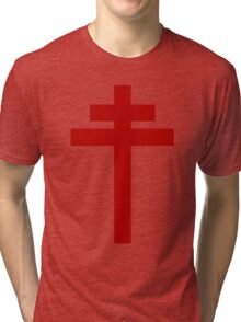 cross of Lorraine - Knights Templar - Holy Grail - Joan of Arch - The Crusades Tri-blend T-Shirt